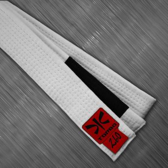 jiu-jitsu white belt with black panel, 4cm