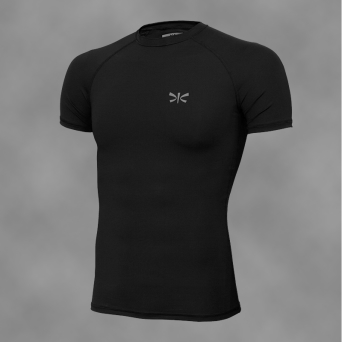 man rashguard BLACK-REG, short sleeves
